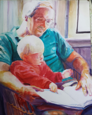 """""""Story Time on Daddy's Lap' Commissioned SOLD portrait"""
